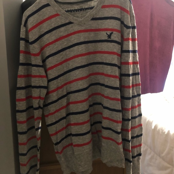 American Eagle Blue and Red Striped Grey Sweater